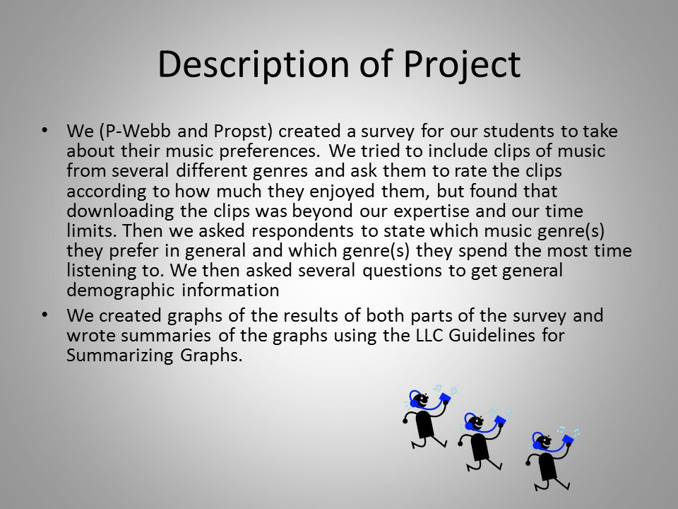 Description of Project We (P-Webb and Propst) created a survey for our students to take about their music preferences.