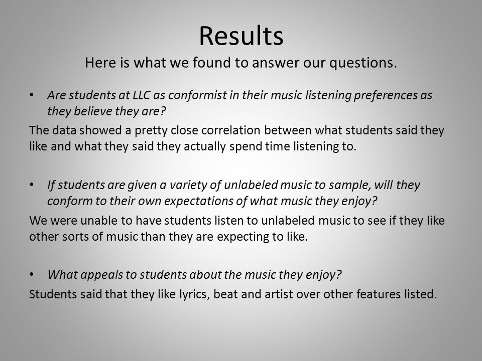 Results Here is what we found to answer our questions.