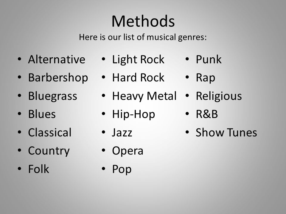 Methods Here is our list of musical genres: Alternative Barbershop Bluegrass Blues Classical Country Folk Light Rock Hard Rock Heavy Metal Hip-Hop Jazz Opera Pop Punk Rap Religious R&B Show Tunes