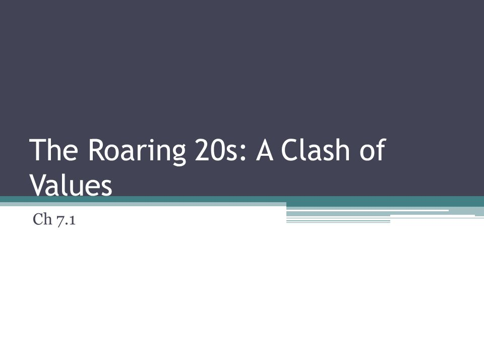 The Roaring 20s: A Clash of Values Ch 7.1