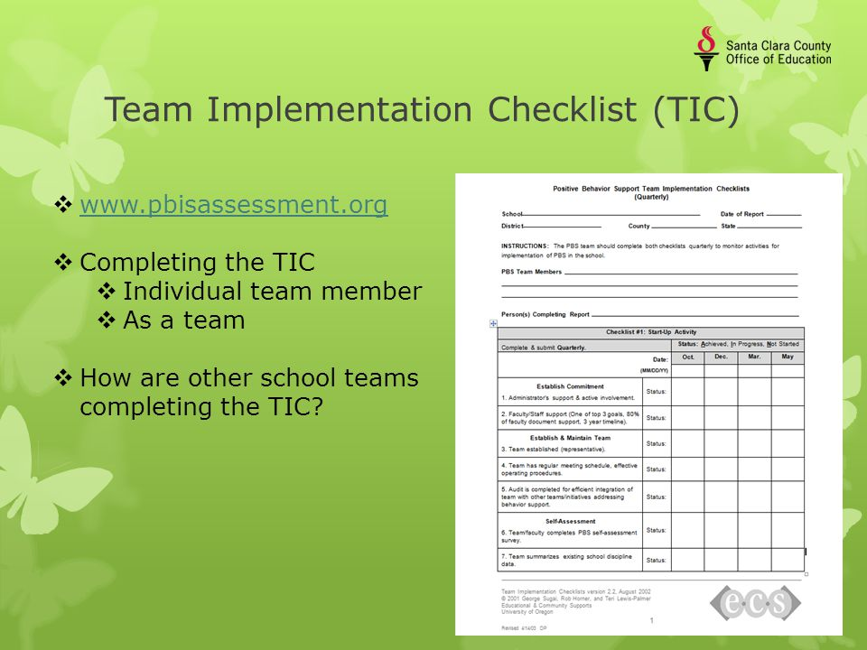 Team Implementation Checklist (TIC)  www.pbisassessment.org www.pbisassessment.org  Completing the TIC  Individual team member  As a team  How are other school teams completing the TIC