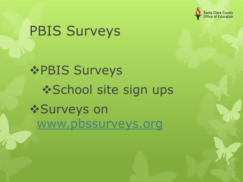 PBIS Surveys  PBIS Surveys  School site sign ups  Surveys on www.pbssurveys.org www.pbssurveys.org