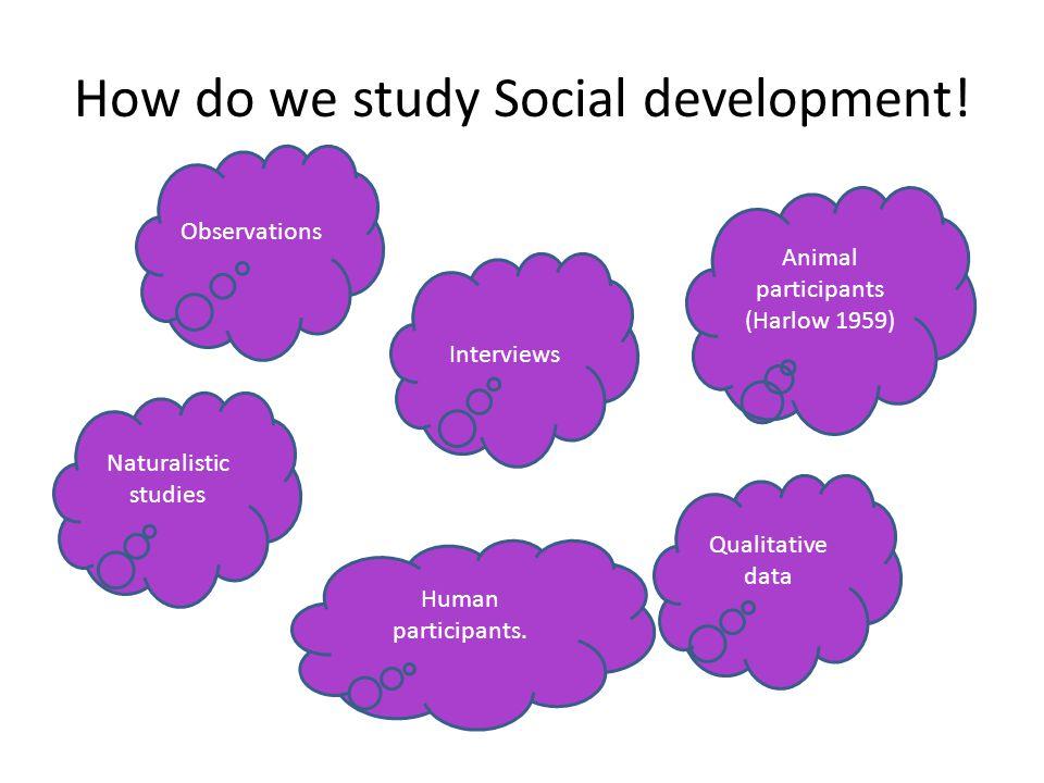How do we study Social development! Human participants. Animal participants (Harlow 1959) Qualitative data Naturalistic studies Interviews Observation