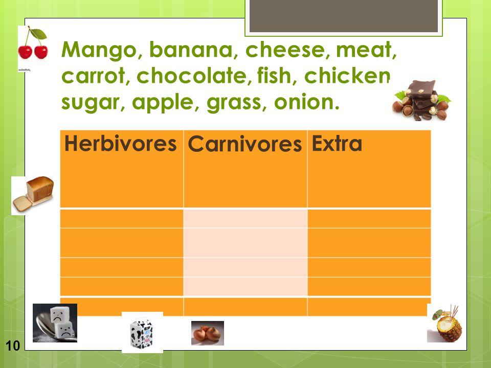 Mango, banana, cheese, meat, carrot, chocolate, fish, chicken, sugar, apple, grass, onion. HerbivoresCarnivoresExtra 10