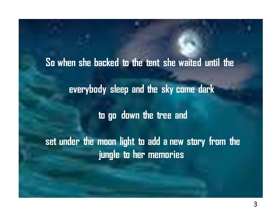 So when she backed to the tent she waited until the everybody sleep and the sky come dark to go down the tree and set under the moon light to add a new story from the jungle to her memories 3