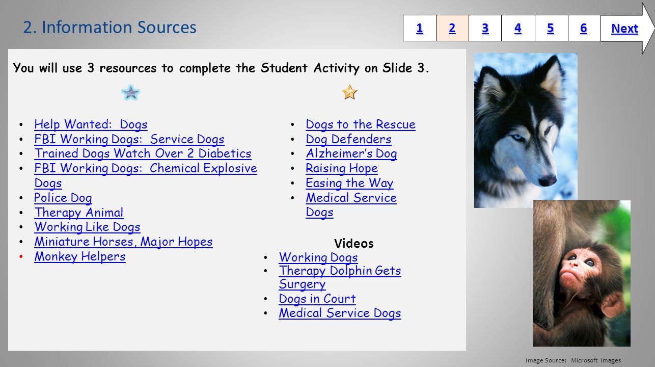 2. Information Sources You will use 3 resources to complete the Student Activity on Slide 3.