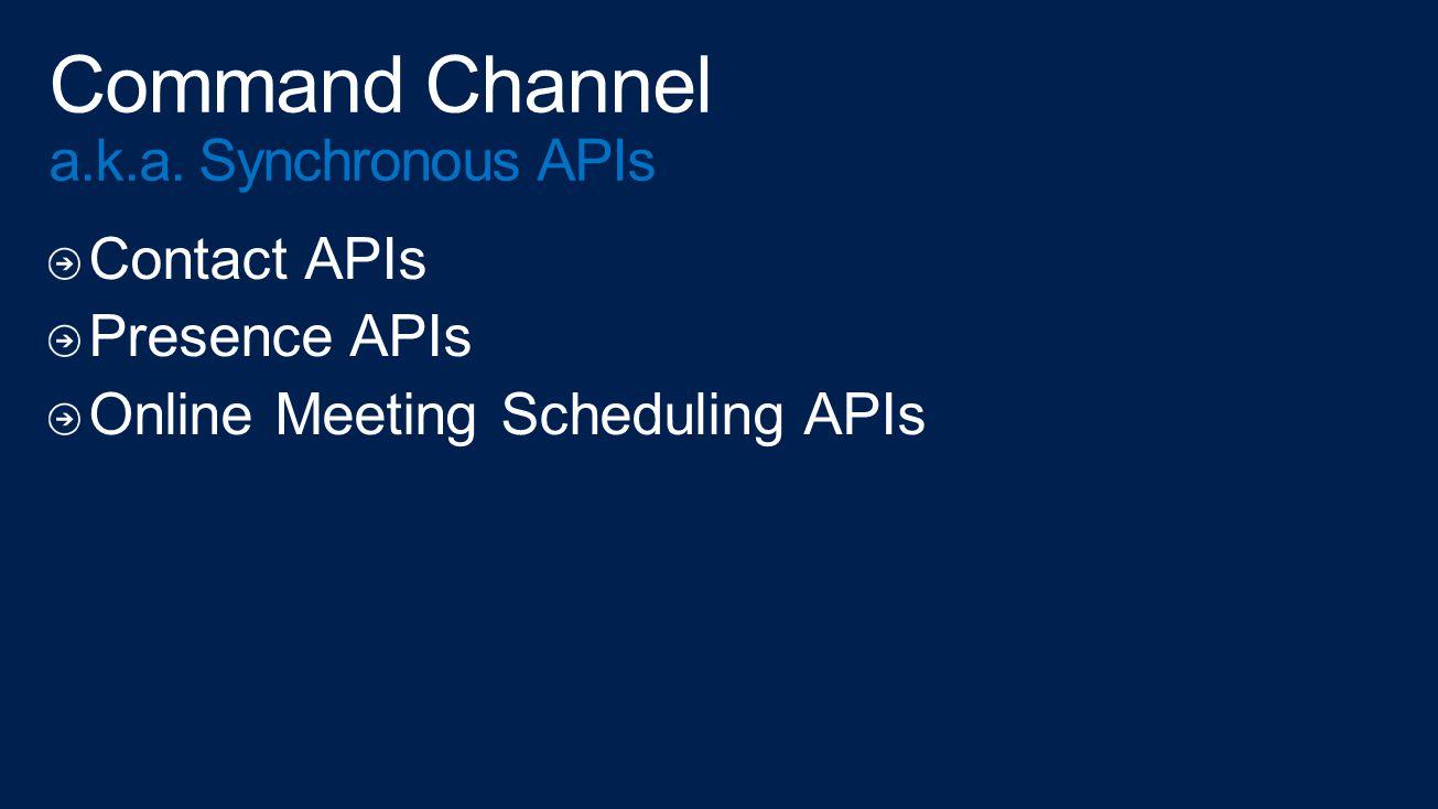 Contact APIs Presence APIs Online Meeting Scheduling APIs