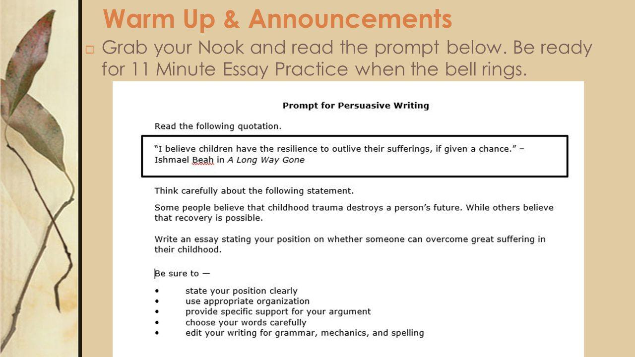 Warm Up & Announcements  Grab your Nook and read the prompt below.