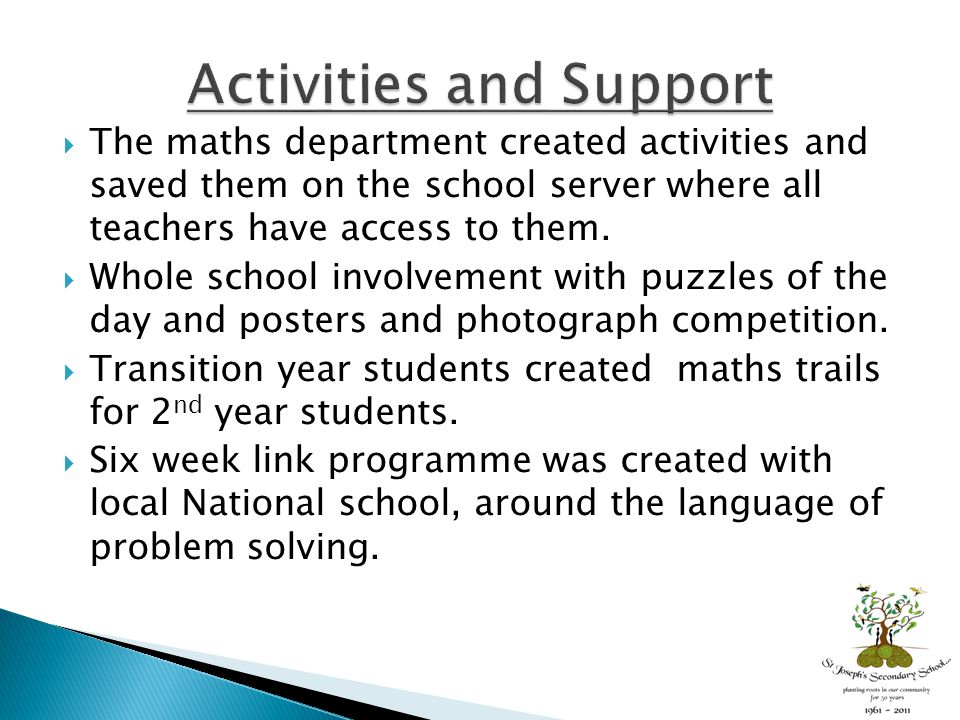  The maths department created activities and saved them on the school server where all teachers have access to them.  Whole school involvement with