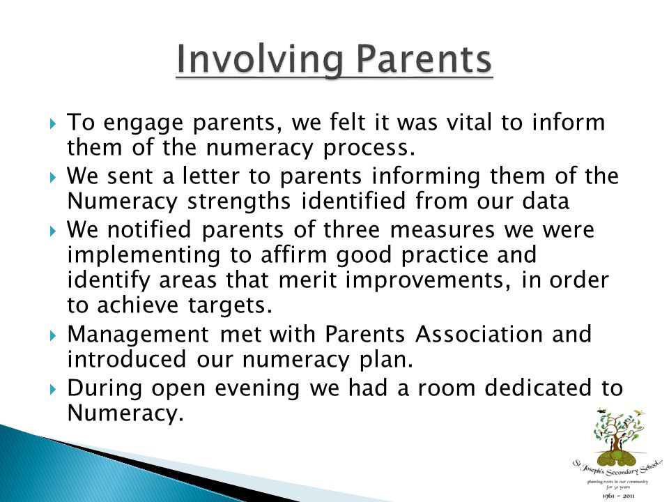  To engage parents, we felt it was vital to inform them of the numeracy process.  We sent a letter to parents informing them of the Numeracy strengt
