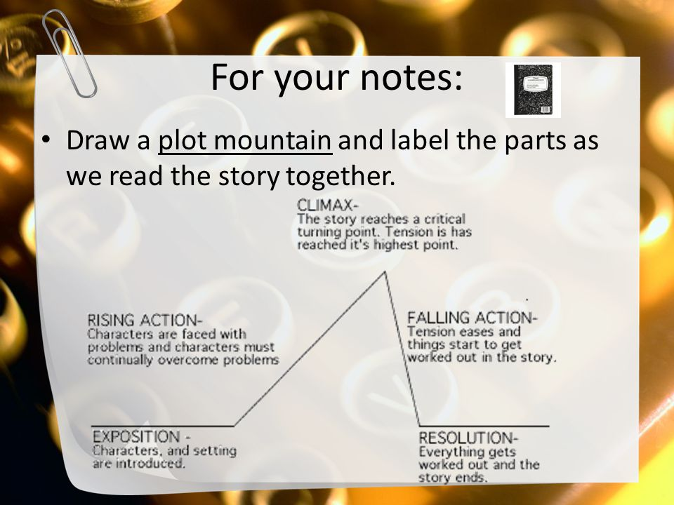For your notes: Draw a plot mountain and label the parts as we read the story together.
