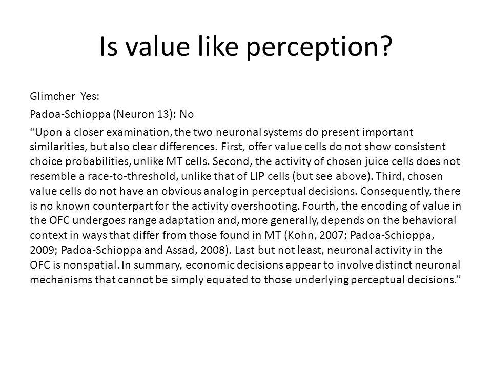 Is value like perception.
