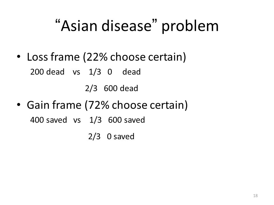 "18 "" Asian disease "" problem Loss frame (22% choose certain) 200 dead vs 1/3 0 dead 2/3 600 dead Gain frame (72% choose certain) 400 saved vs 1/3 600"