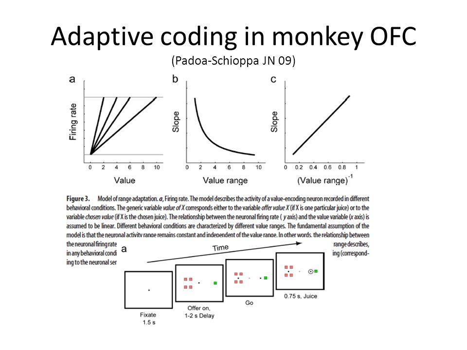 Adaptive coding in monkey OFC (Padoa-Schioppa JN 09)