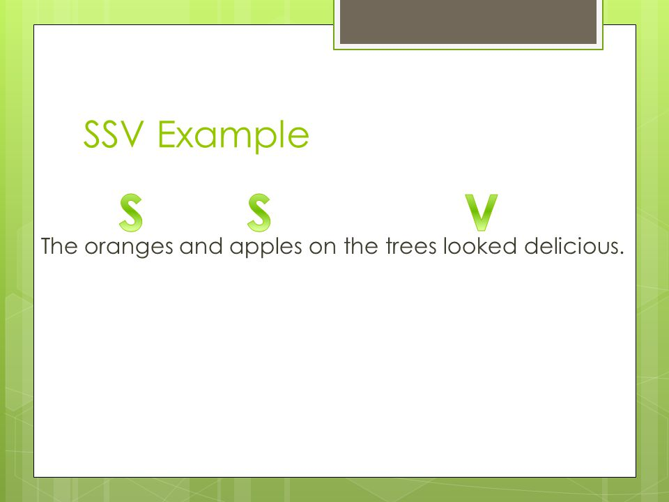 SSV Example The oranges and apples on the trees looked delicious.