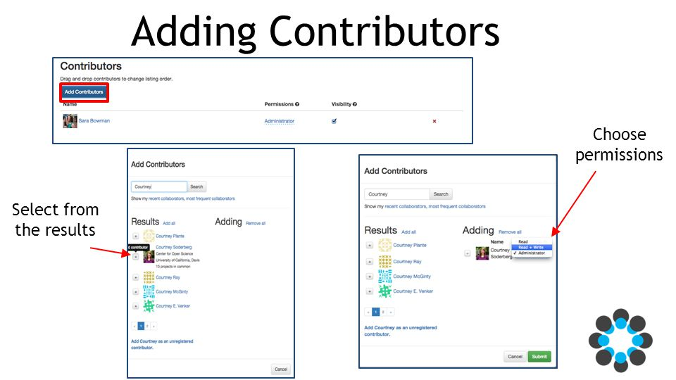 Adding Contributors Select from the results Choose permissions
