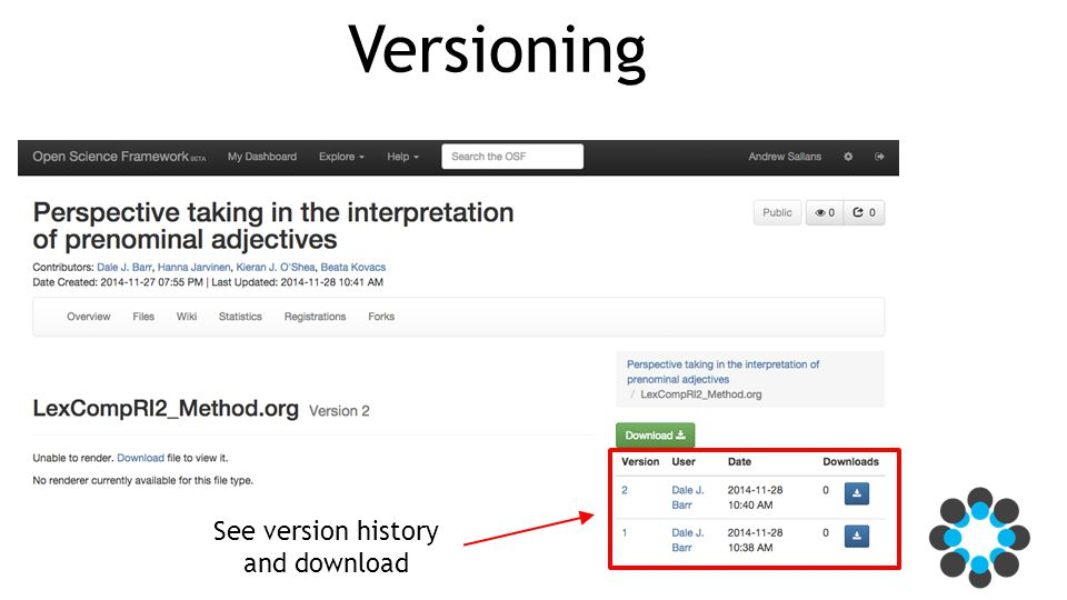 Versioning See version history and download