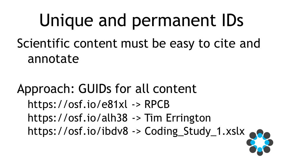 Unique and permanent IDs Scientific content must be easy to cite and annotate Approach: GUIDs for all content https://osf.io/e81xl -> RPCB https://osf.io/alh38 -> Tim Errington https://osf.io/ibdv8 -> Coding_Study_1.xslx
