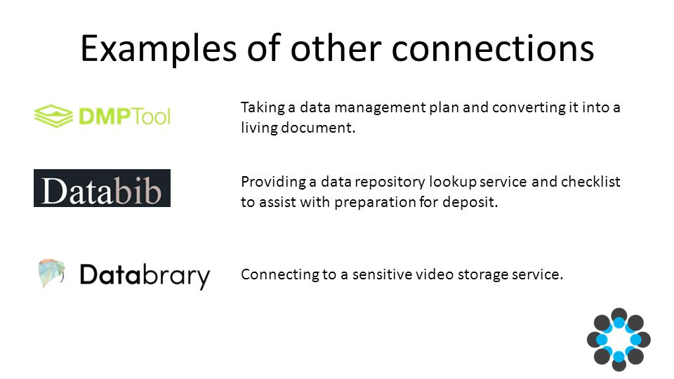 Examples of other connections Taking a data management plan and converting it into a living document.