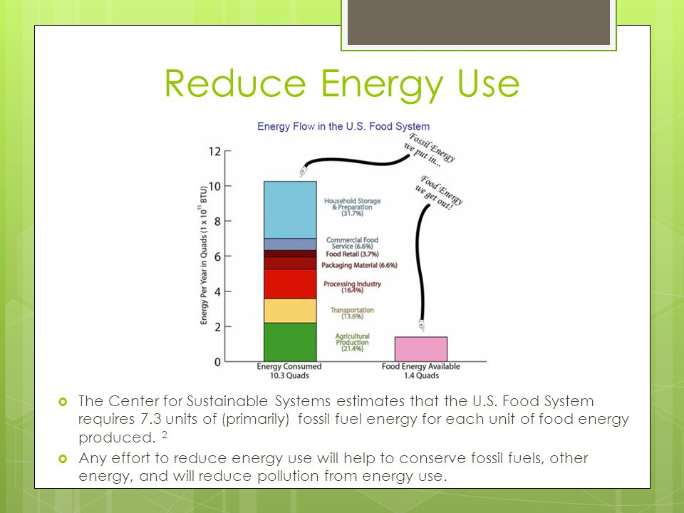 Reduce Energy Use  The Center for Sustainable Systems estimates that the U.S.