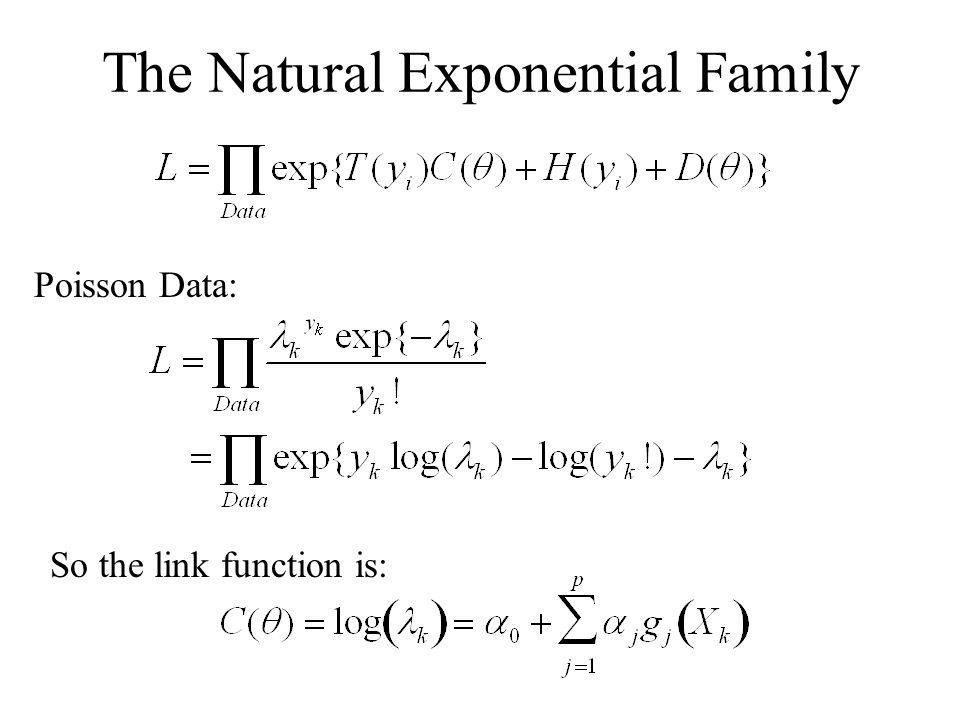 The Natural Exponential Family Poisson Data: So the link function is:
