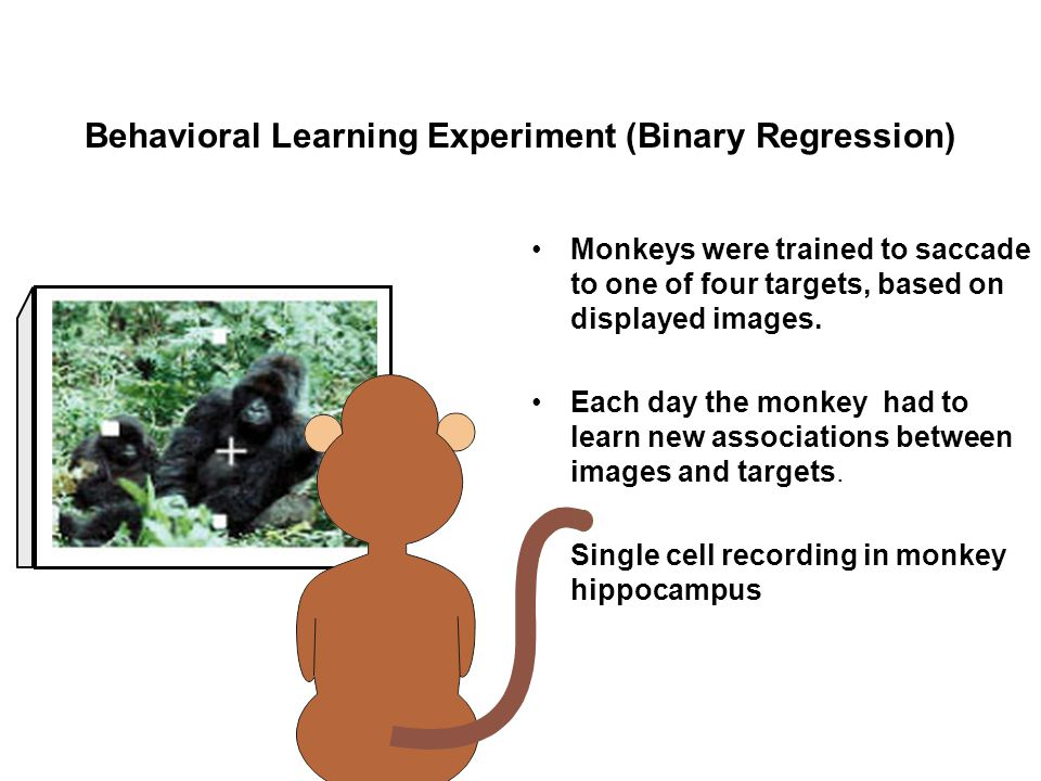Behavioral Learning Experiment (Binary Regression) Monkeys were trained to saccade to one of four targets, based on displayed images. Each day the mon