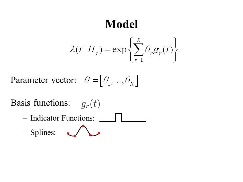 Model Parameter vector: Basis functions: –Indicator Functions: –Splines: