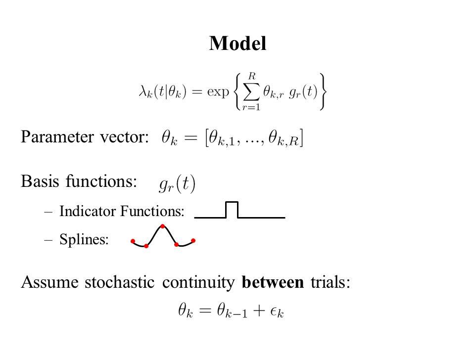 Model Parameter vector: Basis functions: –Indicator Functions: –Splines: Assume stochastic continuity between trials: