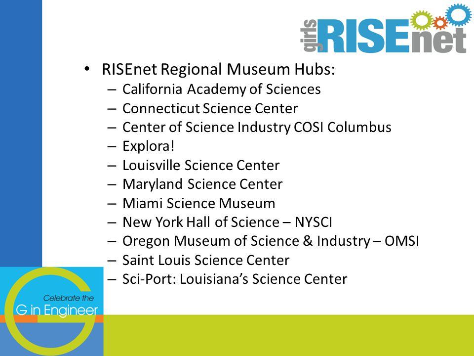 RISEnet Regional Museum Hubs: – California Academy of Sciences – Connecticut Science Center – Center of Science Industry COSI Columbus – Explora.