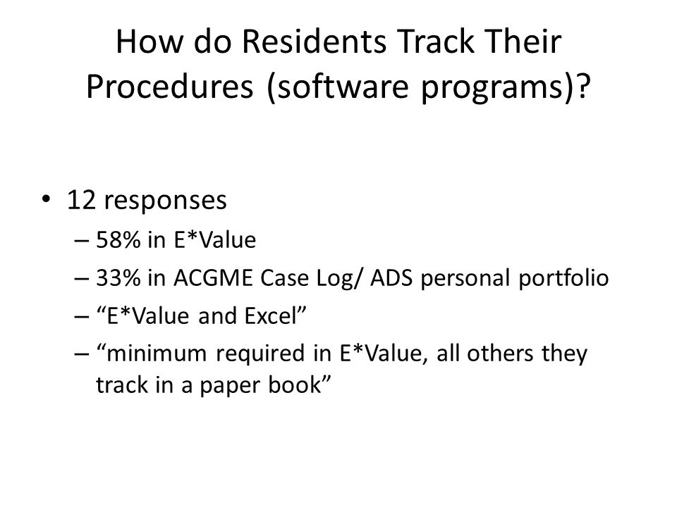 How do Residents Track Their Procedures (software programs).