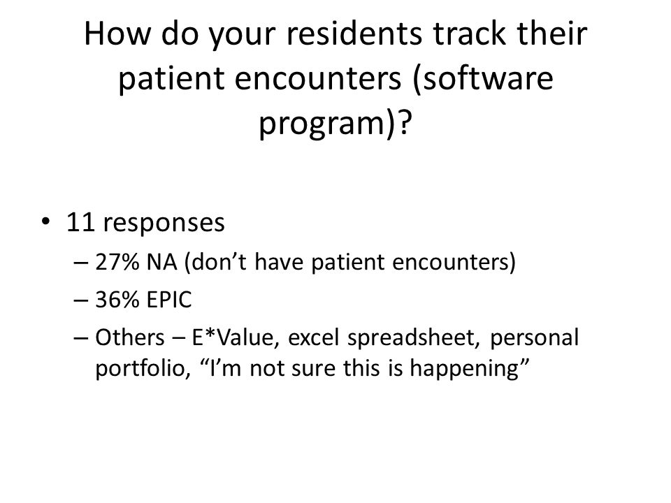 How do your residents track their patient encounters (software program)? 11 responses – 27% NA (don't have patient encounters) – 36% EPIC – Others – E