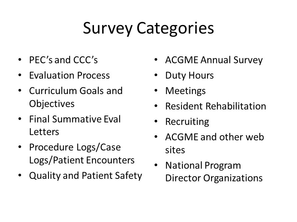 Survey Categories PEC's and CCC's Evaluation Process Curriculum Goals and Objectives Final Summative Eval Letters Procedure Logs/Case Logs/Patient Encounters Quality and Patient Safety ACGME Annual Survey Duty Hours Meetings Resident Rehabilitation Recruiting ACGME and other web sites National Program Director Organizations