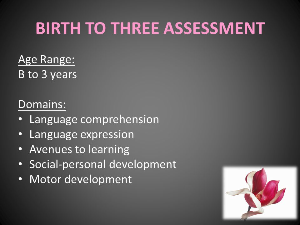 BIRTH TO THREE ASSESSMENT Age Range: B to 3 years Domains: Language comprehension Language expression Avenues to learning Social-personal development Motor development