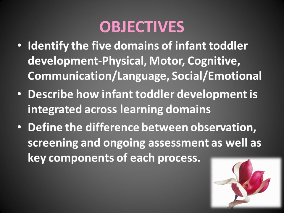 OBJECTIVES Identify the five domains of infant toddler development-Physical, Motor, Cognitive, Communication/Language, Social/Emotional Describe how i