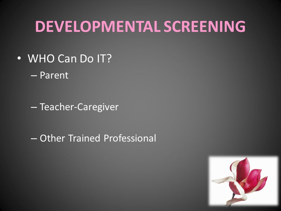 DEVELOPMENTAL SCREENING WHO Can Do IT? – Parent – Teacher-Caregiver – Other Trained Professional