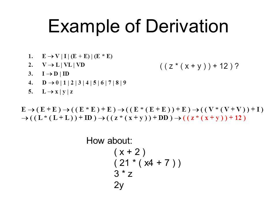 1.E  V | I | (E + E) | (E * E) 2.V  L | VL | VD 3.I  D | ID 4.D  0 | 1 | 2 | 3 | 4 | 5 | 6 | 7 | 8 | 9 5.L  x | y | z ( ( z * ( x + y ) ) + 12 ) .
