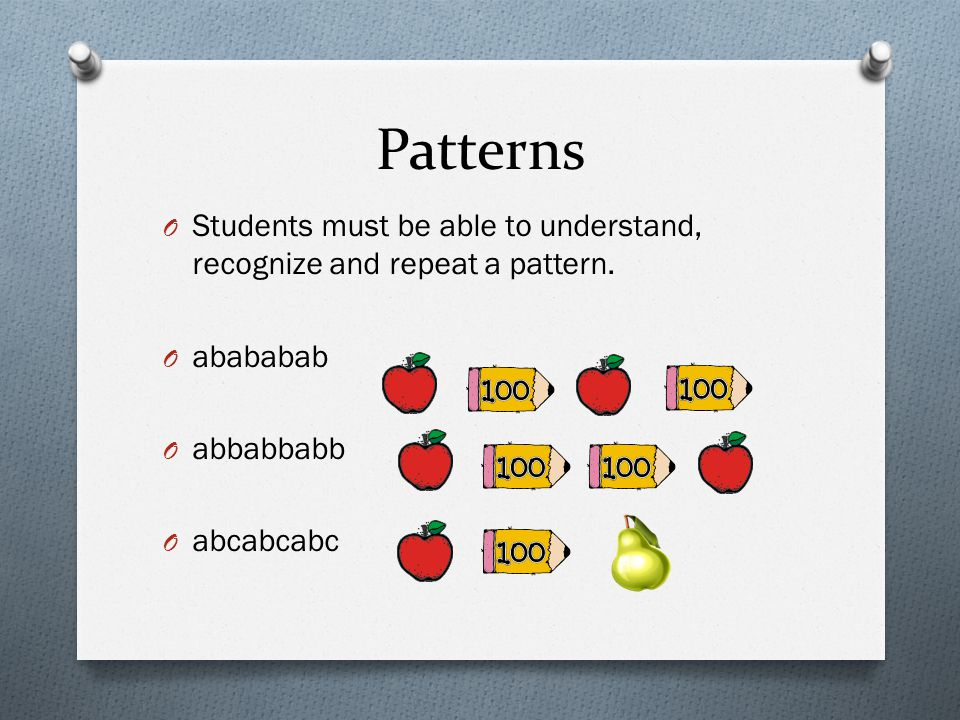 Patterns O Students must be able to understand, recognize and repeat a pattern. O abababab O abbabbabb O abcabcabc