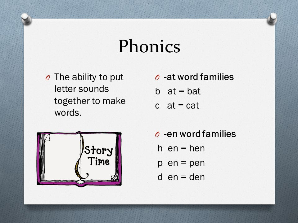 Phonics O The ability to put letter sounds together to make words. O -at word families b at = bat c at = cat O -en word families h en = hen p en = pen