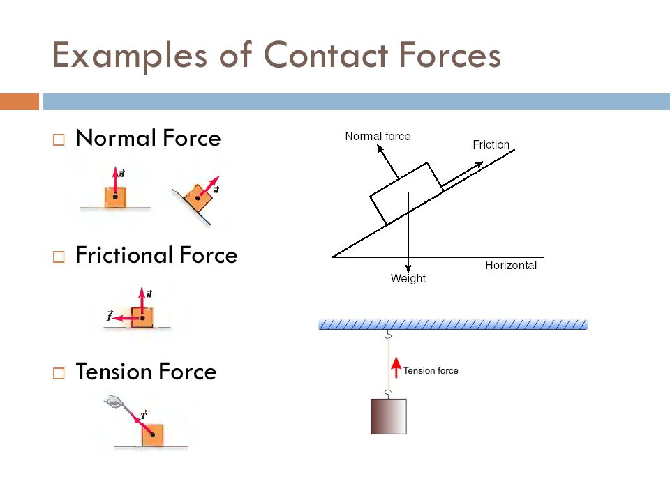 Examples of Contact Forces  Normal Force  Frictional Force  Tension Force