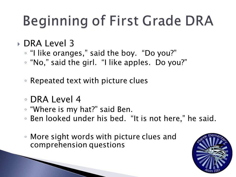  DRA Level 3 ◦ I like oranges, said the boy. Do you? ◦ No, said the girl.