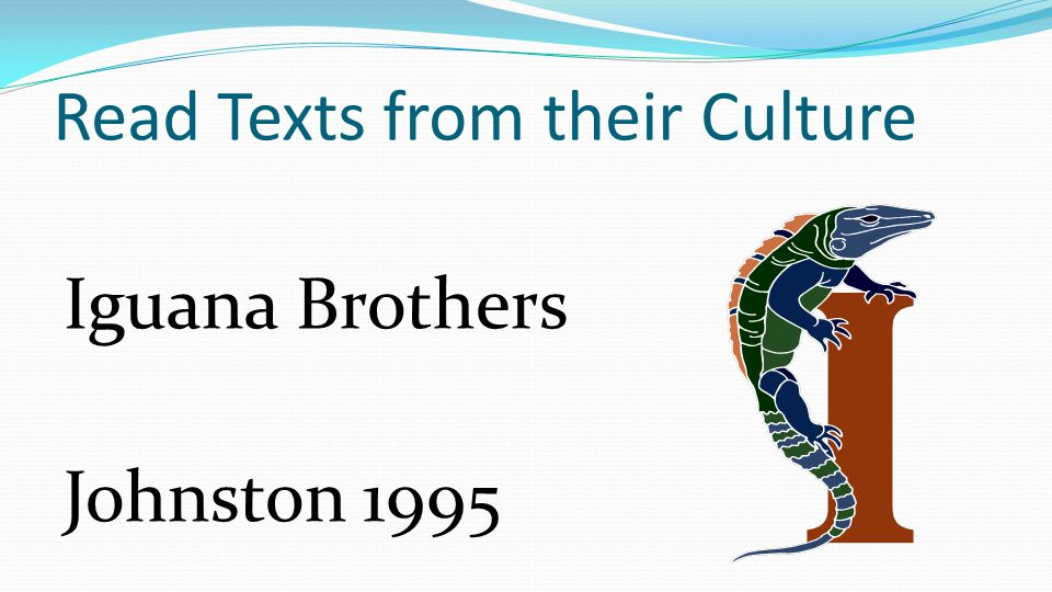 Read Texts from their Culture Iguana Brothers Johnston 1995