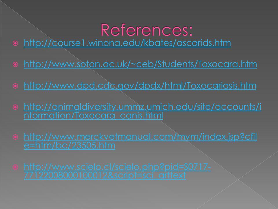 http://course1.winona.edu/kbates/ascarids.htm http://course1.winona.edu/kbates/ascarids.htm  http://www.soton.ac.uk/~ceb/Students/Toxocara.htm http://www.soton.ac.uk/~ceb/Students/Toxocara.htm  http://www.dpd.cdc.gov/dpdx/html/Toxocariasis.htm http://www.dpd.cdc.gov/dpdx/html/Toxocariasis.htm  http://animaldiversity.ummz.umich.edu/site/accounts/i nformation/Toxocara_canis.html http://animaldiversity.ummz.umich.edu/site/accounts/i nformation/Toxocara_canis.html  http://www.merckvetmanual.com/mvm/index.jsp cfil e=htm/bc/23505.htm http://www.merckvetmanual.com/mvm/index.jsp cfil e=htm/bc/23505.htm  http://www.scielo.cl/scielo.php pid=S0717- 77122008000100012&script=sci_arttext http://www.scielo.cl/scielo.php pid=S0717- 77122008000100012&script=sci_arttext