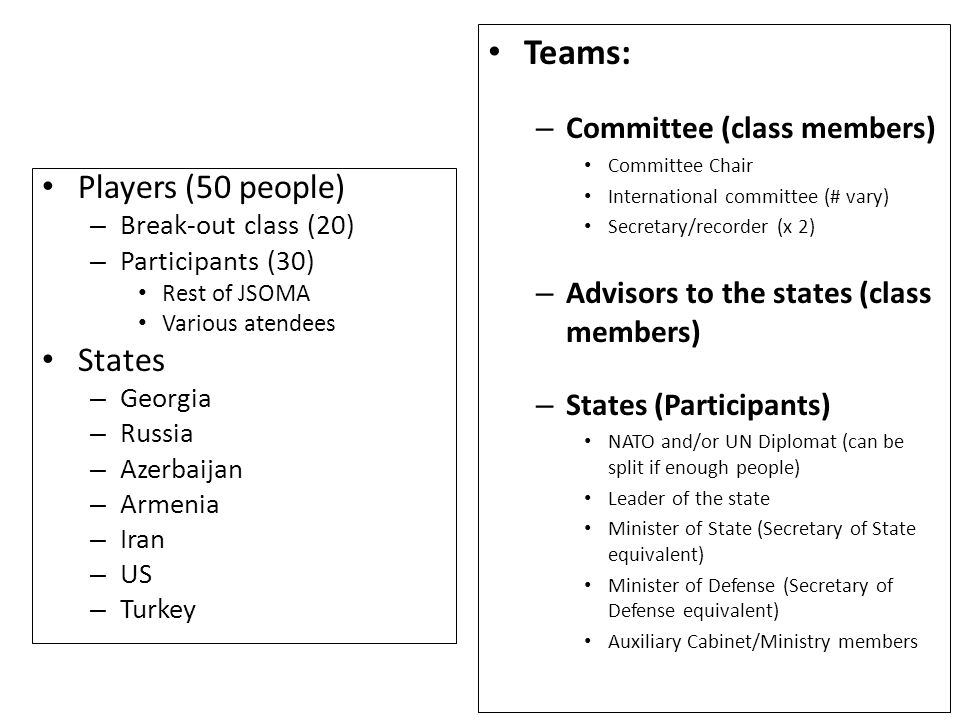 Teams: – Committee (class members) Committee Chair International committee (# vary) Secretary/recorder (x 2) – Advisors to the states (class members) – States (Participants) NATO and/or UN Diplomat (can be split if enough people) Leader of the state Minister of State (Secretary of State equivalent) Minister of Defense (Secretary of Defense equivalent) Auxiliary Cabinet/Ministry members Players (50 people) – Break-out class (20) – Participants (30) Rest of JSOMA Various atendees States – Georgia – Russia – Azerbaijan – Armenia – Iran – US – Turkey