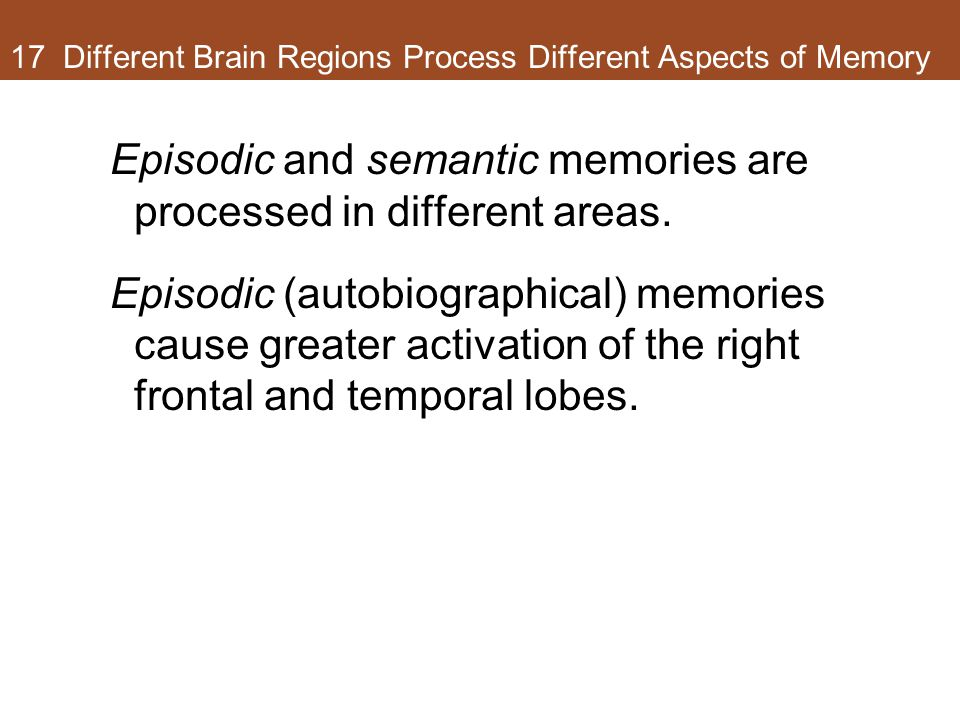 17 Different Brain Regions Process Different Aspects of Memory Episodic and semantic memories are processed in different areas. Episodic (autobiograph