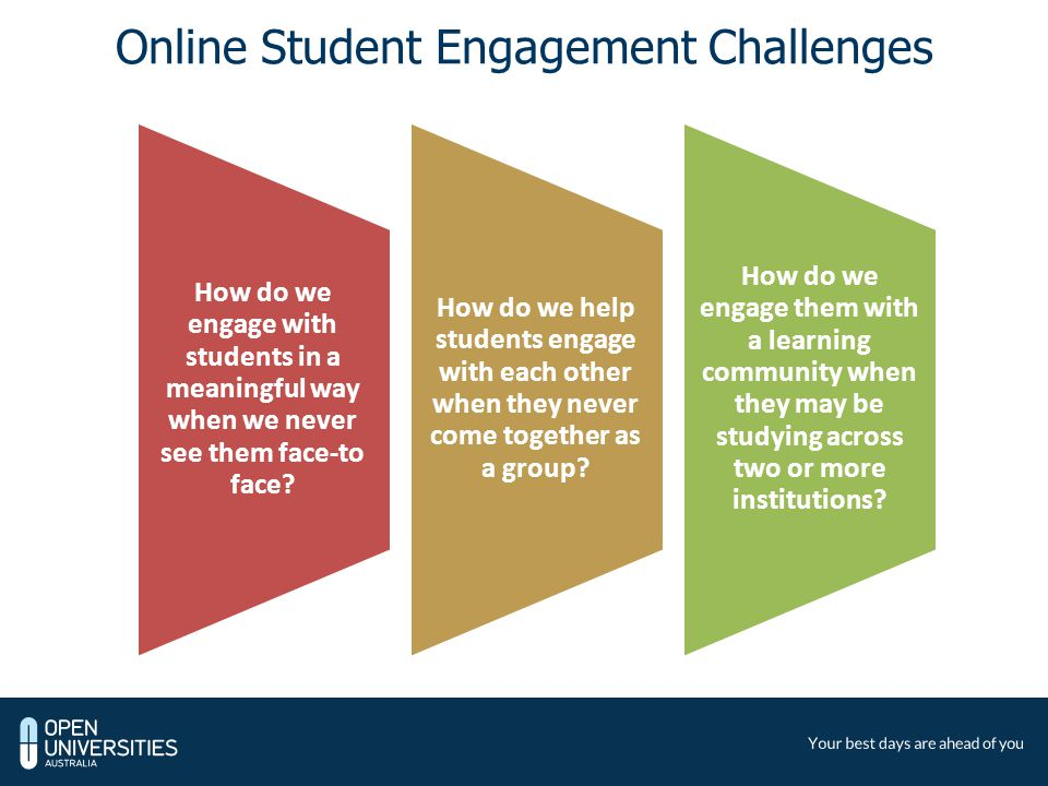 Online Student Engagement Challenges How do we engage with students in a meaningful way when we never see them face-to face.