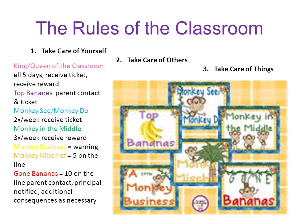 The Rules of the Classroom 1.Take Care of Yourself 2.Take Care of Others 3.Take Care of Things King/Queen of the Classroom all 5 days, receive ticket, receive reward Top Bananas parent contact & ticket Monkey See/Monkey Do 2x/week receive ticket Monkey in the Middle 3x/week receive reward Monkey Business = warning Monkey Mischief = 5 on the line Gone Bananas = 10 on the line parent contact, principal notified, additional consequences as necessary