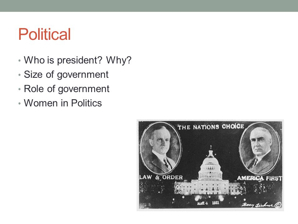 Political Who is president? Why? Size of government Role of government Women in Politics