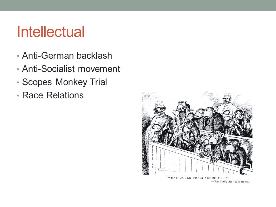 Intellectual Anti-German backlash Anti-Socialist movement Scopes Monkey Trial Race Relations