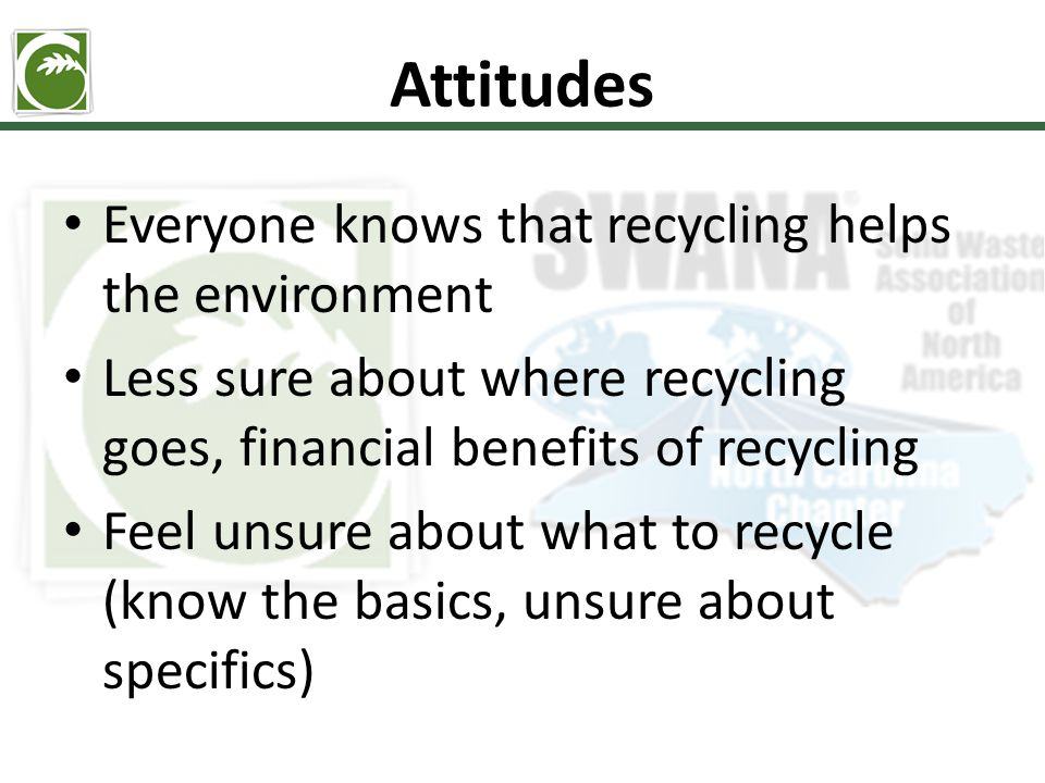 Attitudes Everyone knows that recycling helps the environment Less sure about where recycling goes, financial benefits of recycling Feel unsure about what to recycle (know the basics, unsure about specifics)