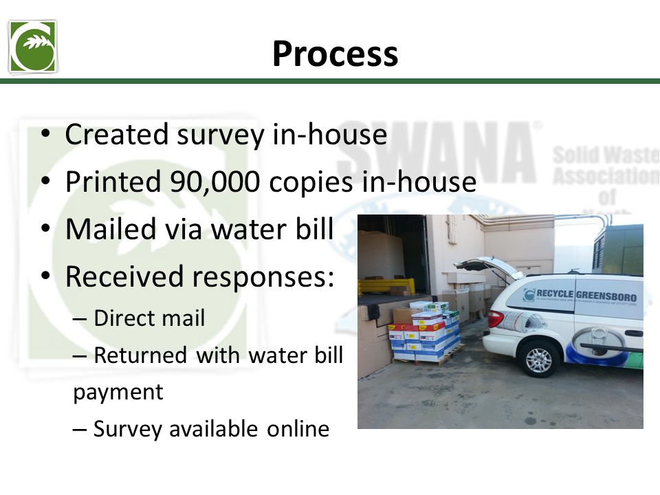 Process Created survey in-house Printed 90,000 copies in-house Mailed via water bill Received responses: – Direct mail – Returned with water bill payment – Survey available online